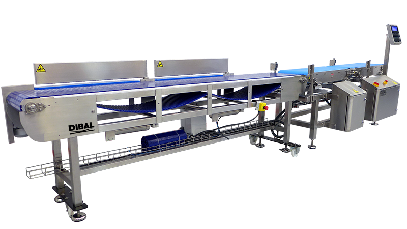 Automatic equipment for grading hams by weight