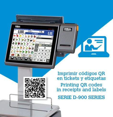 How to print QR codes on receipts and labels of Dibal D-900 scales