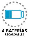 4 baterías recargables