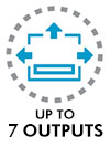 Up to 7 outputs